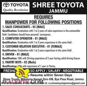 Jobs in Shree Toyota Jammu