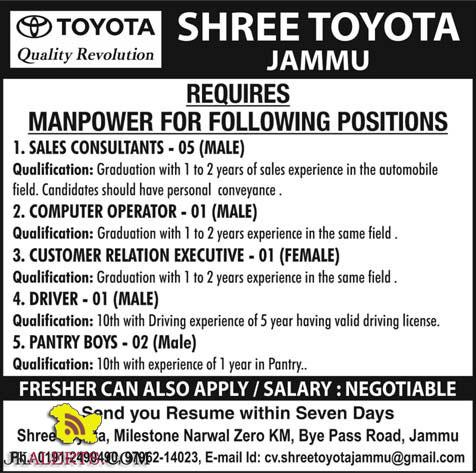 Jobs in Shree Toyota Jammu