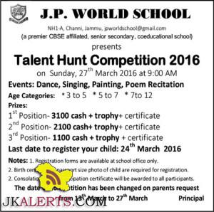 J.P. WORLD SCHOOL Talent Hunt Competition 2016