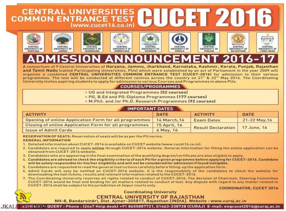 CENTRAL UNIVERSITIES COMMON ENTRANCE TEST CUCET 2016