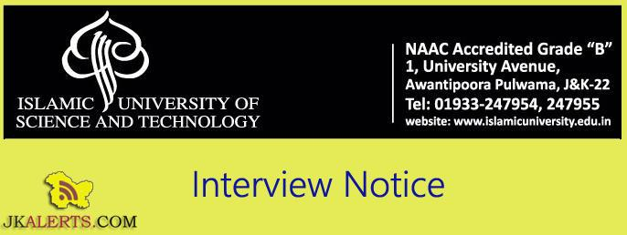 Interview Notice Assistant Professor (Microbiology) and Assistant Professor (Food Technology) (IUST)