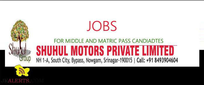 JOBS IN SHUHUL MOTORS PRIVATE LIMITED HYUNDAI DEALERSHIP IN SRINAGAR