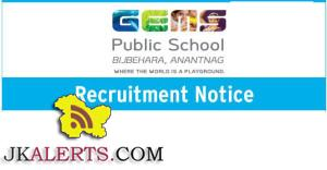 Recruitment Gems public school srinagar