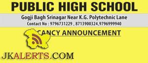 TEACHING JOBS IN PUBLIC HIGH SCHOOL SRINAGAR