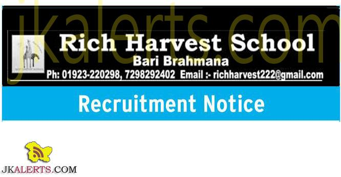 ich harvest school jobs in jammu