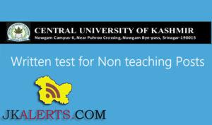 Written test for non teaching posts in CUK