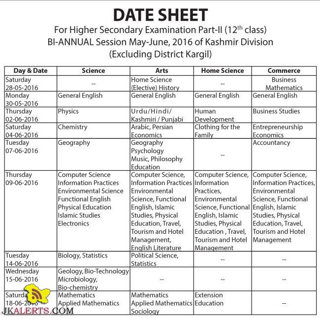 JKBOSE Datesheet of Class 12th Bi- Annual Kashmir Division Session May June 2016
