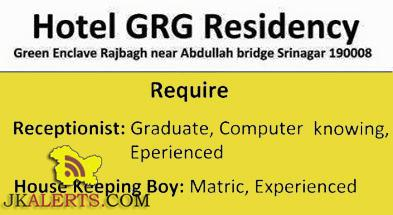 Jobs in Hotel GRG Residency, Receptionist, House Keeping Jobs in srinagar
