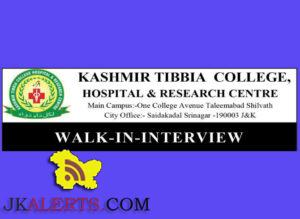 JOBS IN KASHMIR TIBBIA COLLEGE, HOSPITAL & RESEARCH CENTRE