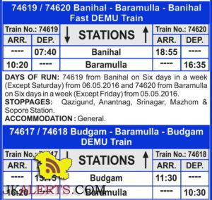 Two new trains Between Baramulla and Banihal, New Trains Timings