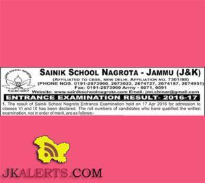 SAINIK SCHOOL NAGROTA ENTRANCE EXAMINATION RESULT -2016-17