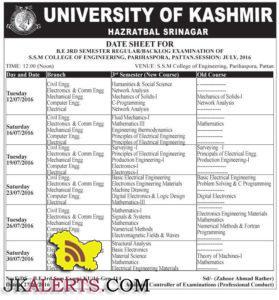 UNIVERSITY OF KASHMIR DATE SHEET FOR B.E 3RD SEMESTER