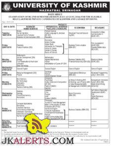 UNIVERSITY OF KASHMIR DATE SHEET OF BG 2ND SEMESTER