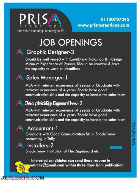 JOB OPENINGS IN PRISM CREATIONZ