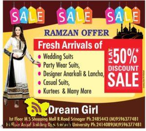 Ramzan Special Offer Flat 50% Discount sale in srinagar