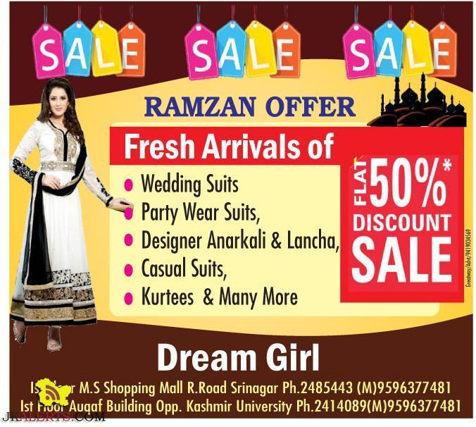 Ramzan Special Offer Flat 50% Discount sale in srinagar