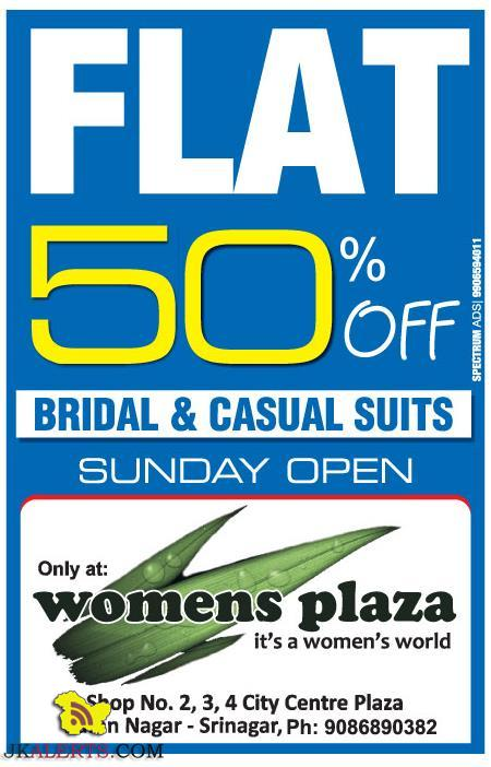 Flat 50% off on Bridal and Casual Suits Womens plaza Srinagar