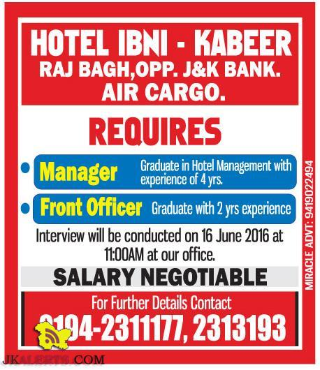 Manager, Front Officer Jobs in HOTEL IBHI - KABEER RAJ BAGH