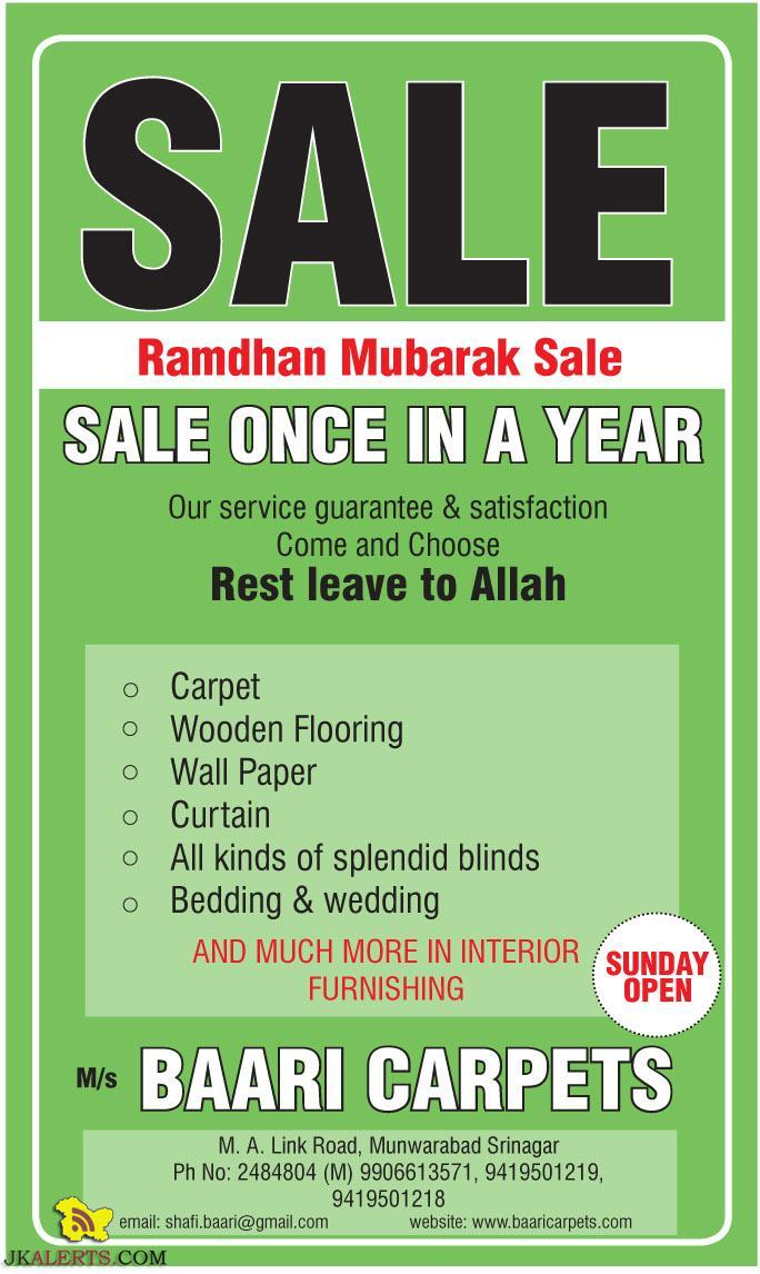 Ramdhan Mubarak Sale on Carpet Wooden Flooring Wall Paper Curtain Baari Carpets srinagar