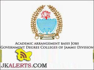 Academic arrangement basis Jobs in Government Degree Colleges of Jammu Division