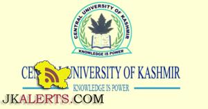 CENTRAL UNIVERSITY OF KASHMIR MBA ADMISSION-2016