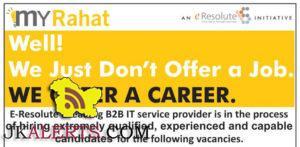 Jobs in E-Resolute a leading B2B IT service provider