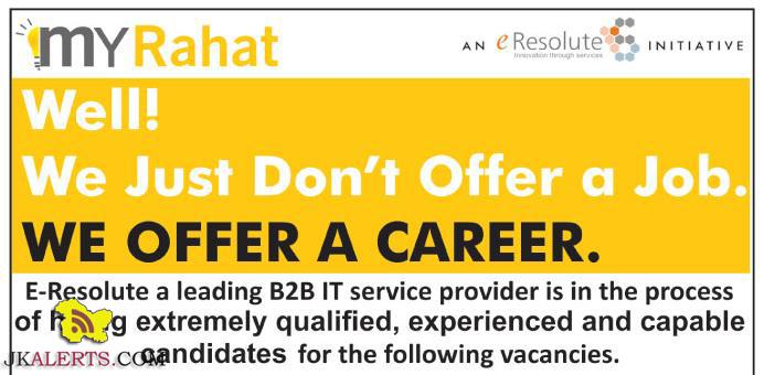 Jobs in E-Resolute a leading B2B IT service provider