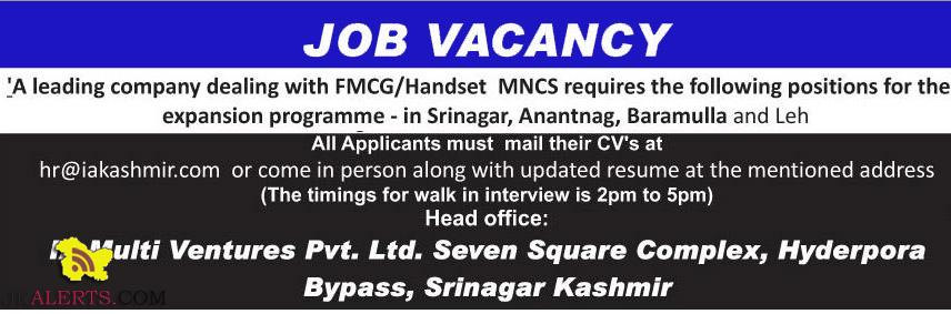 Jobs in IA Multi Ventures , Jobs opeings in Srinagar, Anantnag, Baramulla and Leh