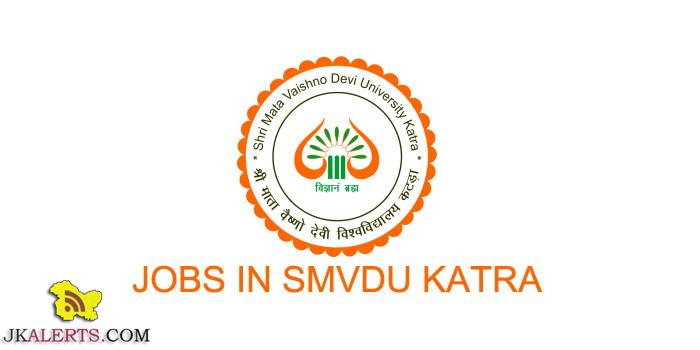 JOBS IN SHRI MATA VAISHNO DEVI UNIVERSITY Kakryal, Katra