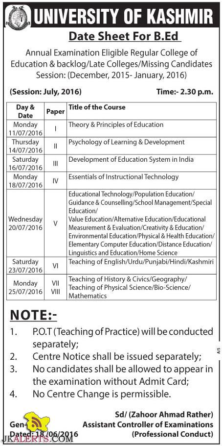 UNIVERSITY OF KASHMIR Date Sheet For B.Ed Annual Examination Eligible Regular College of Education