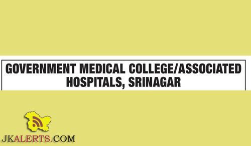 Sister Tutors on Academic Arrangement basis in GMC / Associated Hospitals Srinagar