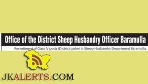 Recruitment of Class IV posts in Sheep Husbandry Department Baramulla