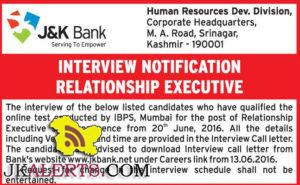 J&KBANK INTERVIEW NOTIFICATION RELATIONSHIP EXECUTIVE