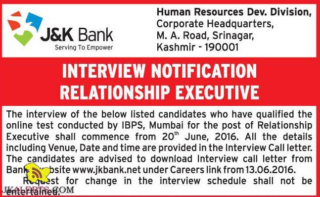 J&KBANK INTERVIEW NOTIFICATION RELATIONSHIP EXECUTIVE
