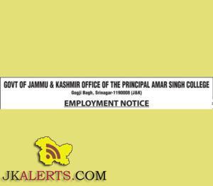 Jobs in Amar Singh College Gogji Bagh Srinagar