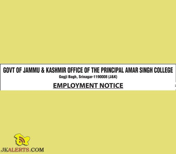 Jobs in Amar Singh College Gogji Bagh Srinagar