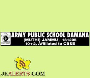 JOBS IN ARMY PUBLIC SCHOOL DAMANA (MUTHI) JAMMU