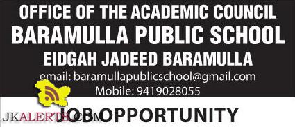 Teaching and Non teaching Jobs Baramulla Public school Barmaulla