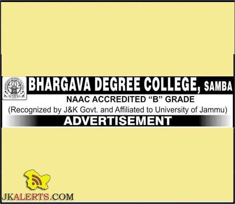 JOBS IN BHARGAVA DEGREE COLLEGE SAMBA