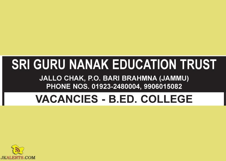 JOBS IN SRI GURU NANAK EDUCATION TRUST JAMMU