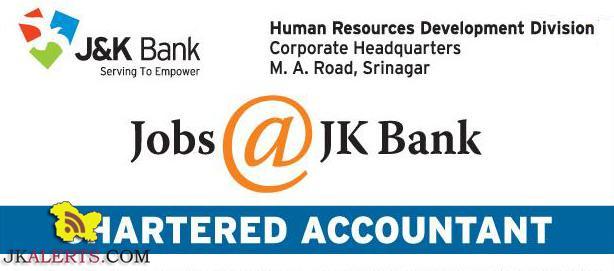 Chartered Accountant Jobs in J&k Bank