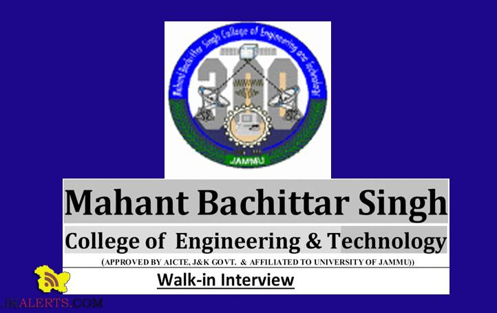 Assistant Professor / Associate Professor / Professor jobs in Mahant Bachittar Singh College of Engineering And Technology