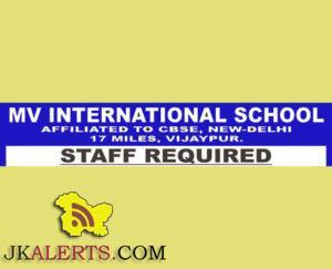 JOBS IN MV INTERNATIONAL SCHOOL