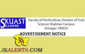 Research, Project Assistant jobs in SKUAST Kashmir