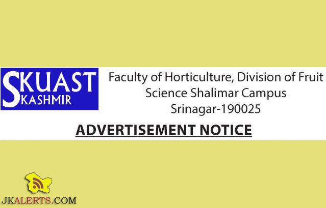Research, Project Assistant jobs in SKUAST Kashmir