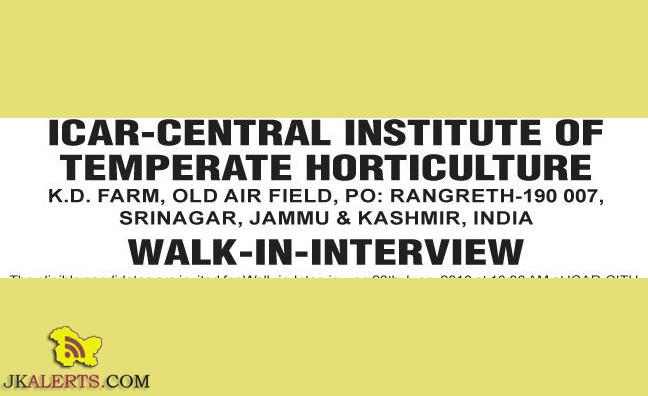 JOBS IN ICAR-CENTRAL INSTITUTE OF TEMPERATE HORTICULTURE