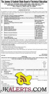 OFFICE OF THE DEAN FACULTY OF ENGINEERING, UNIVERSITY OF JAMMU, JAMMU Admission Notification No.02 Dated:-02-07-2016 (B.E. Lateral Entry Scheme) The last date for submission of Online Application Form for admission to BE Programme (Lateral Entry scheme) for the Session 2016-17 in the colleges affiliated to University of Jammu, is hereby extended till 09-07-2016. The online application form duly filled by the candidates can be submitted through a link provided in the college website www.gcetjammu.org.in Rest all other conditions as notified vide Admission Notification No: 01 Dated:-15-06-2016 will remain the same. Sd/- Dean, Faculty of Engineering University of Jammu DIP/J-2489 & Dt: 02-07-2016 Principal Govt College of Engineering & Technology, Jammu.