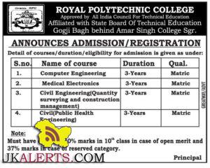 ADMISSION / REGISTRATION OPEN IN ROYAL POLYTECHNIC COLLEGE