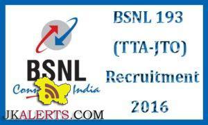 BSNL Special Recruitment Drive 2016 for JTO ,TTA , Clerk/Trainee