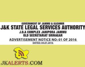 J&K SLSA in Computers administration and accounts, State legal Services Authority jobs